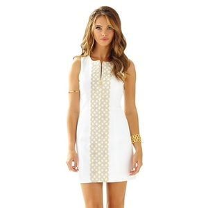 💐Lilly Pulitzer White/Gold Mila Shift Dress💐